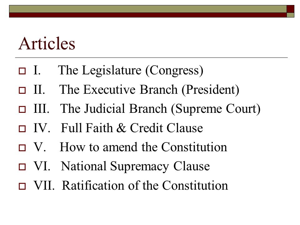 Articles I. The Legislature (Congress)