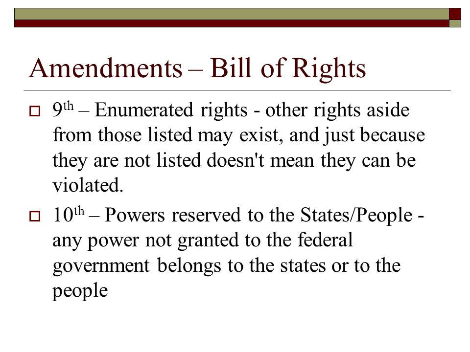 Amendments – Bill of Rights