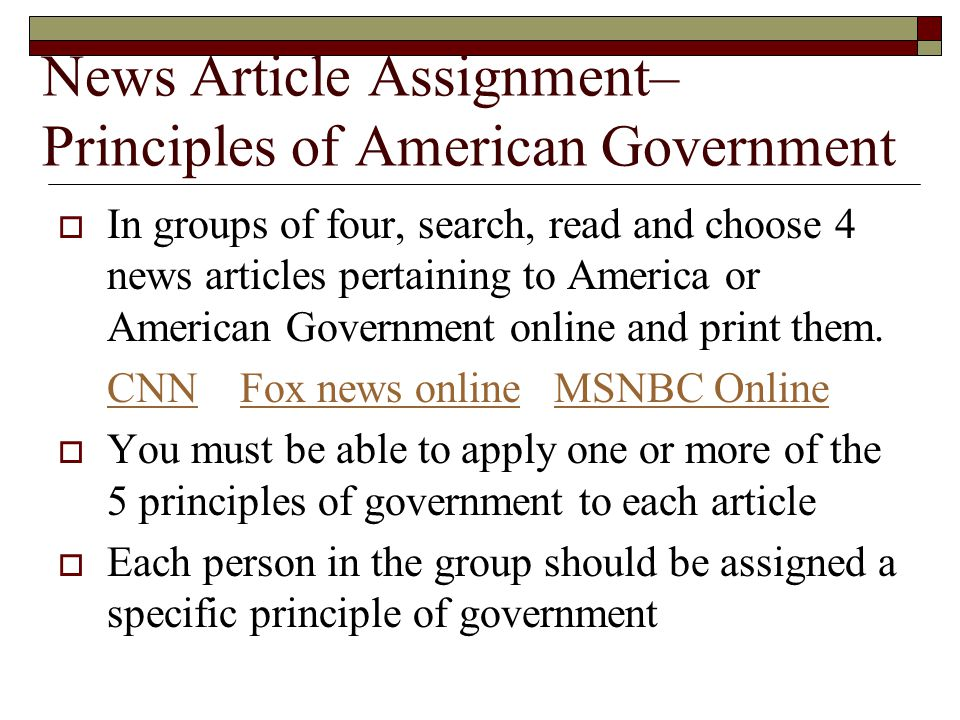 News Article Assignment– Principles of American Government