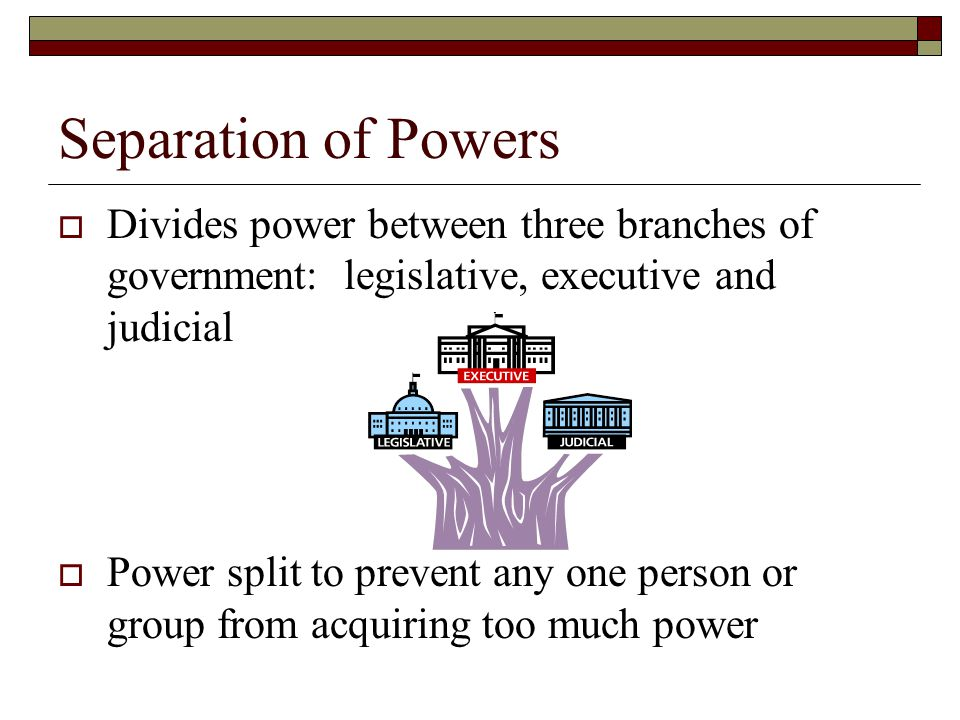 Separation of Powers Divides power between three branches of government: legislative, executive and judicial.