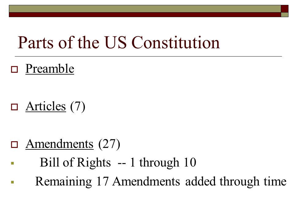 Parts of the US Constitution