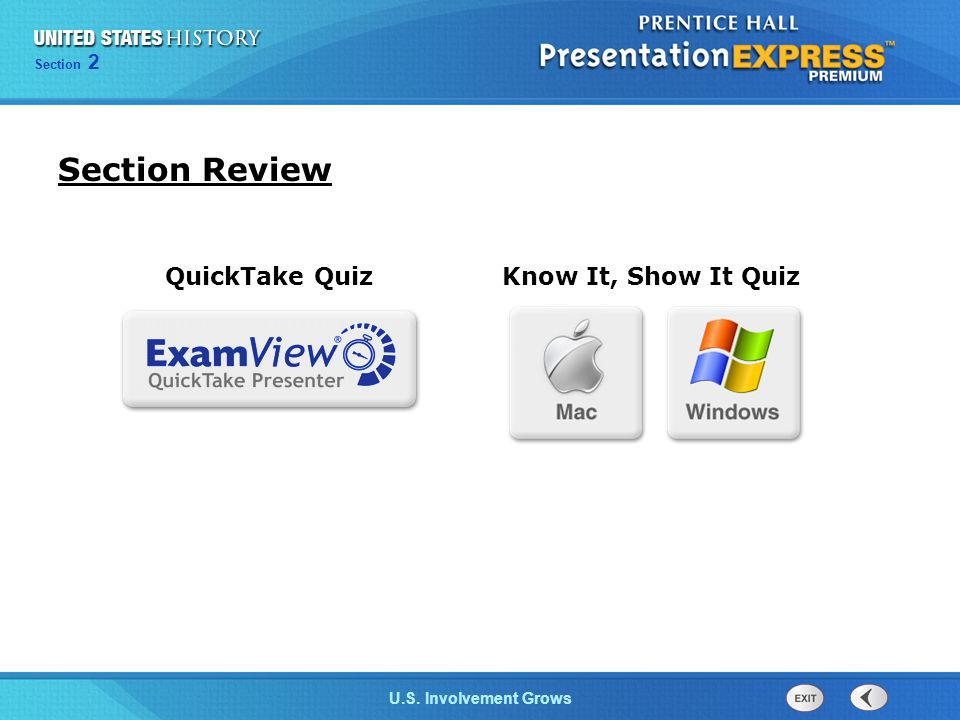 Section Review QuickTake Quiz Know It, Show It Quiz 12