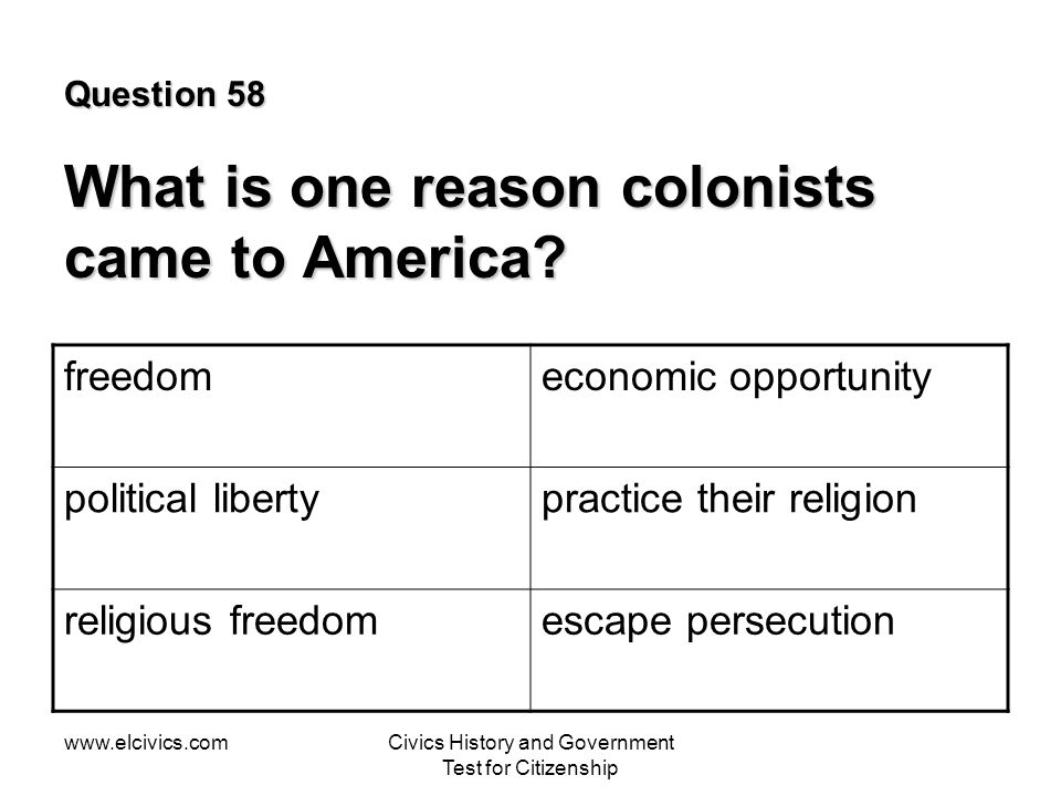 Question 58 What is one reason colonists came to America