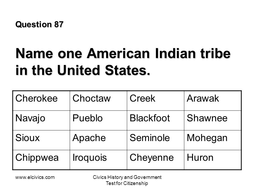 Question 87 Name one American Indian tribe in the United States.