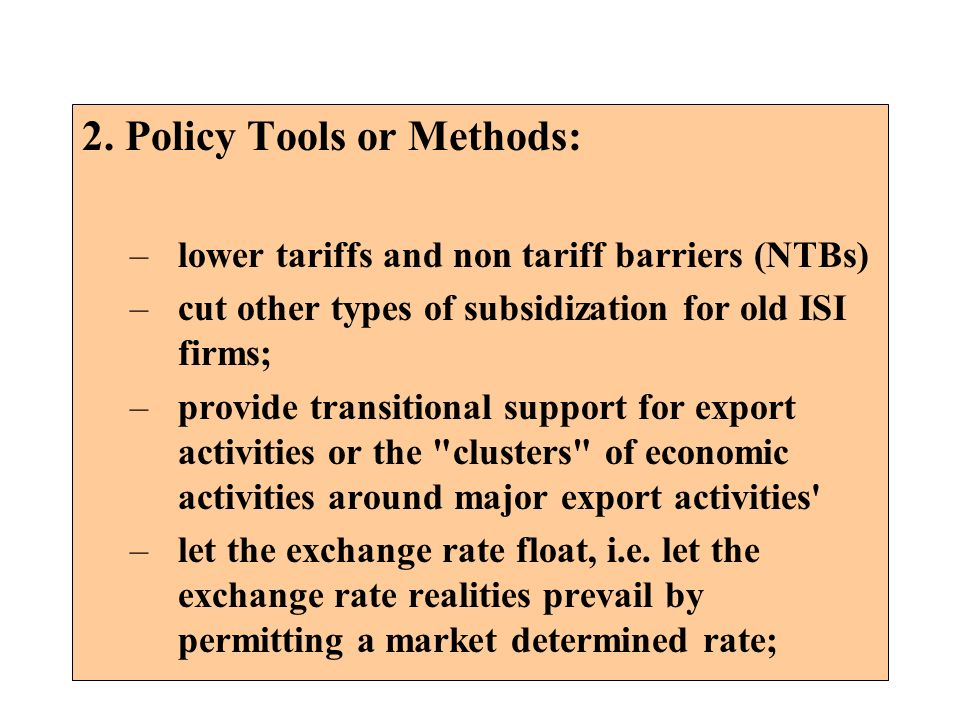 2. Policy Tools or Methods: