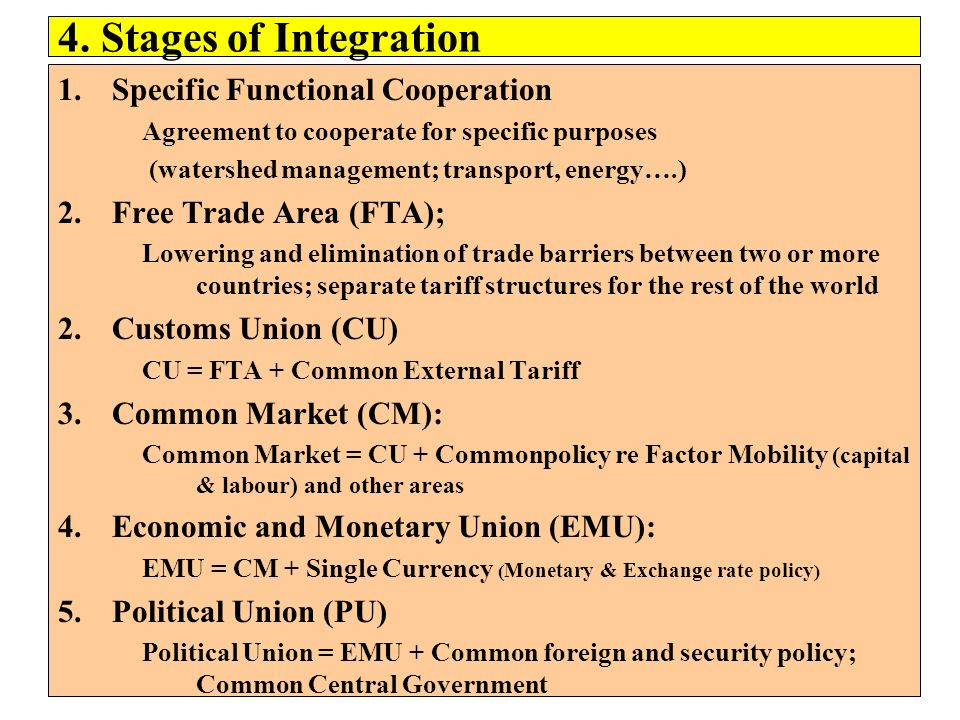 4. Stages of Integration Specific Functional Cooperation