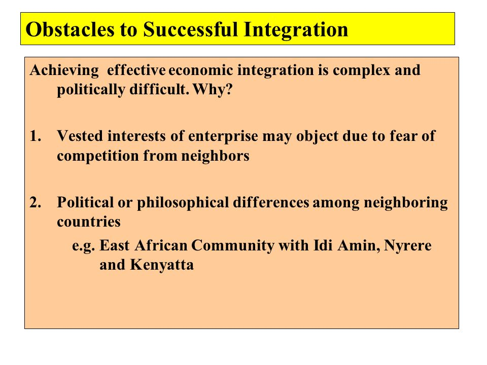 Obstacles to Successful Integration