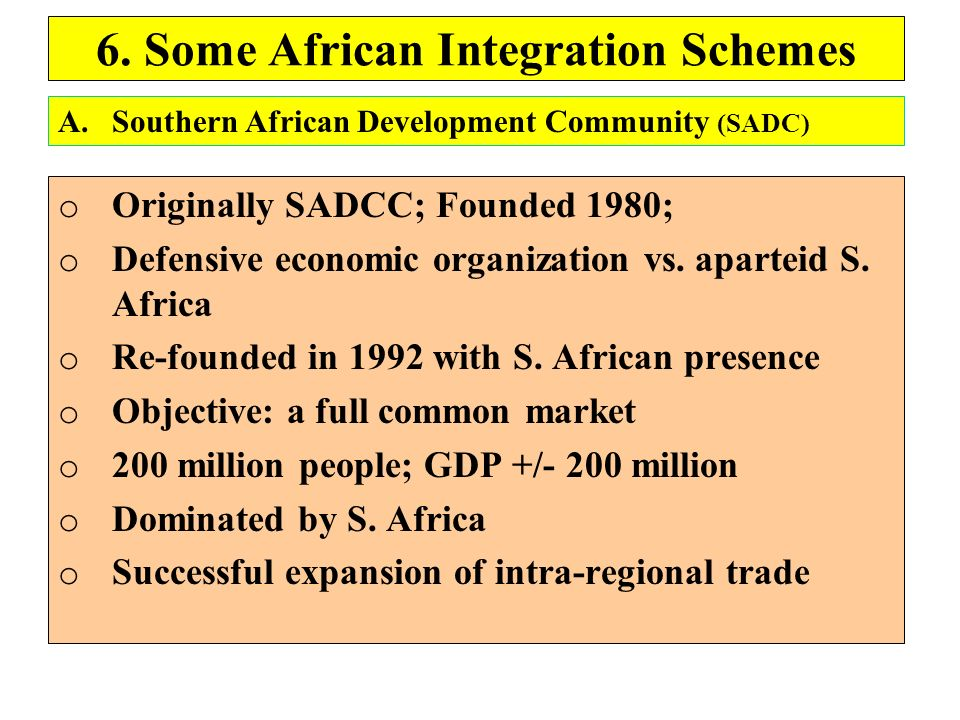 6. Some African Integration Schemes