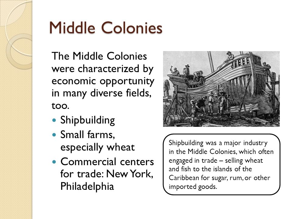 Middle Colonies The Middle Colonies were characterized by economic opportunity in many diverse fields, too.