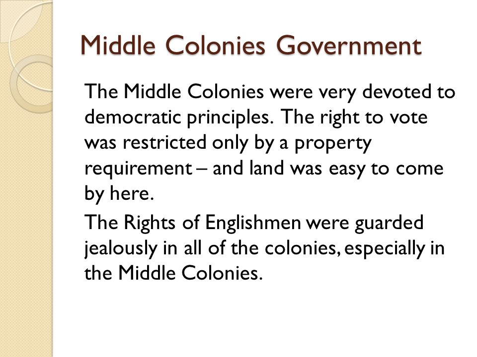 Middle Colonies Government