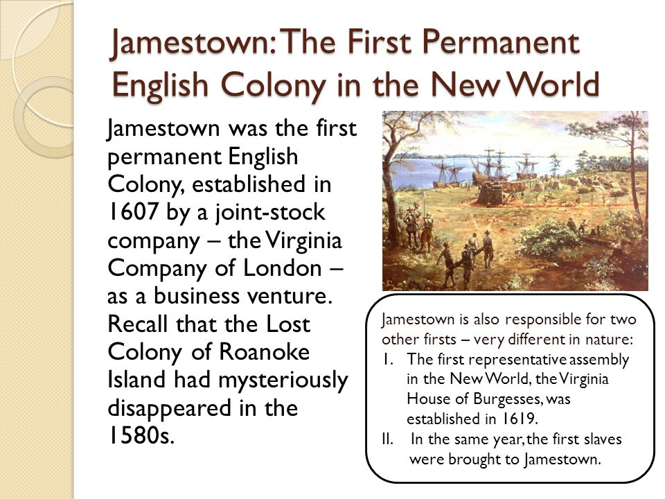 Jamestown: The First Permanent English Colony in the New World