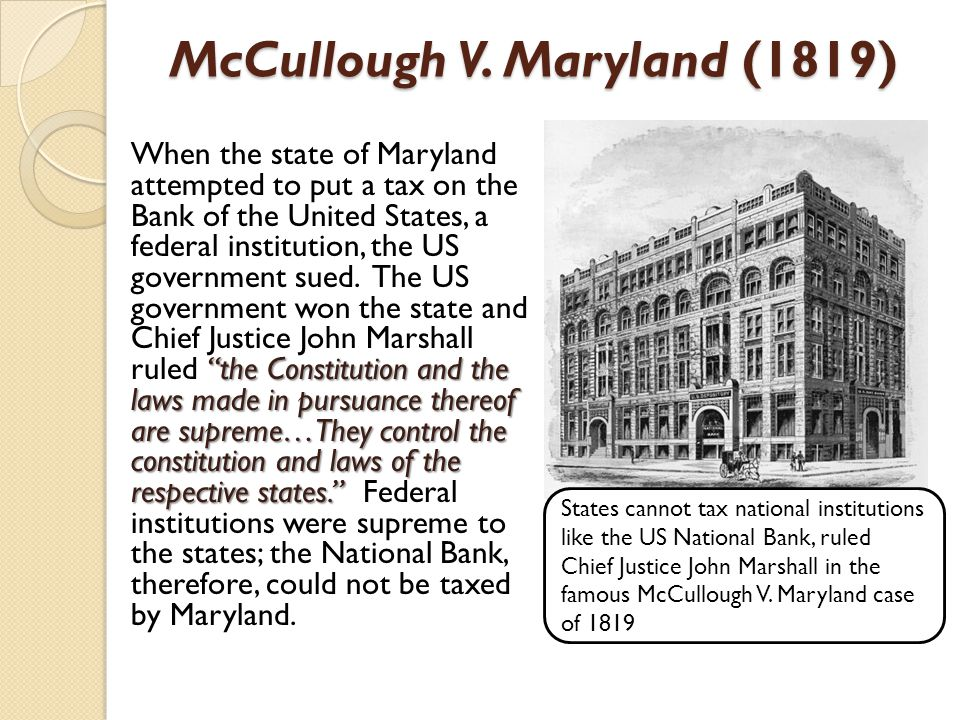 McCullough V. Maryland (1819)
