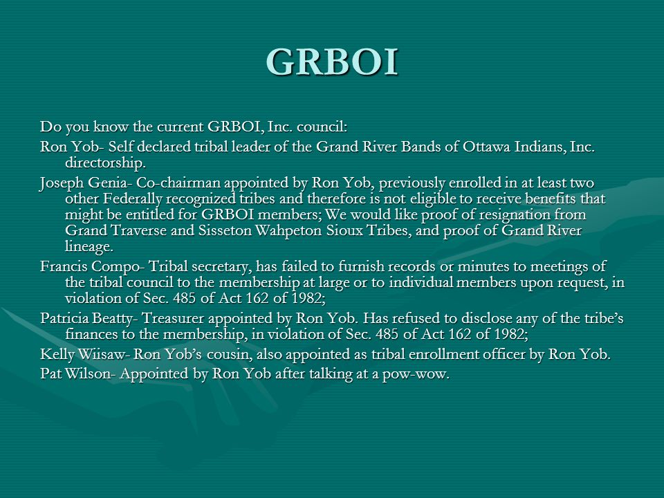 GRBOI Do you know the current GRBOI, Inc. council:
