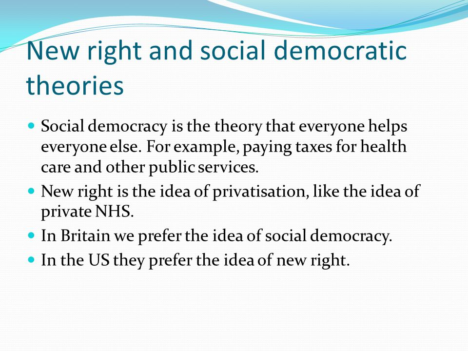 New right and social democratic theories
