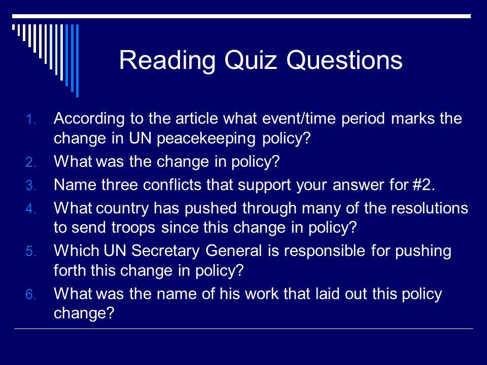 Reading Quiz Questions