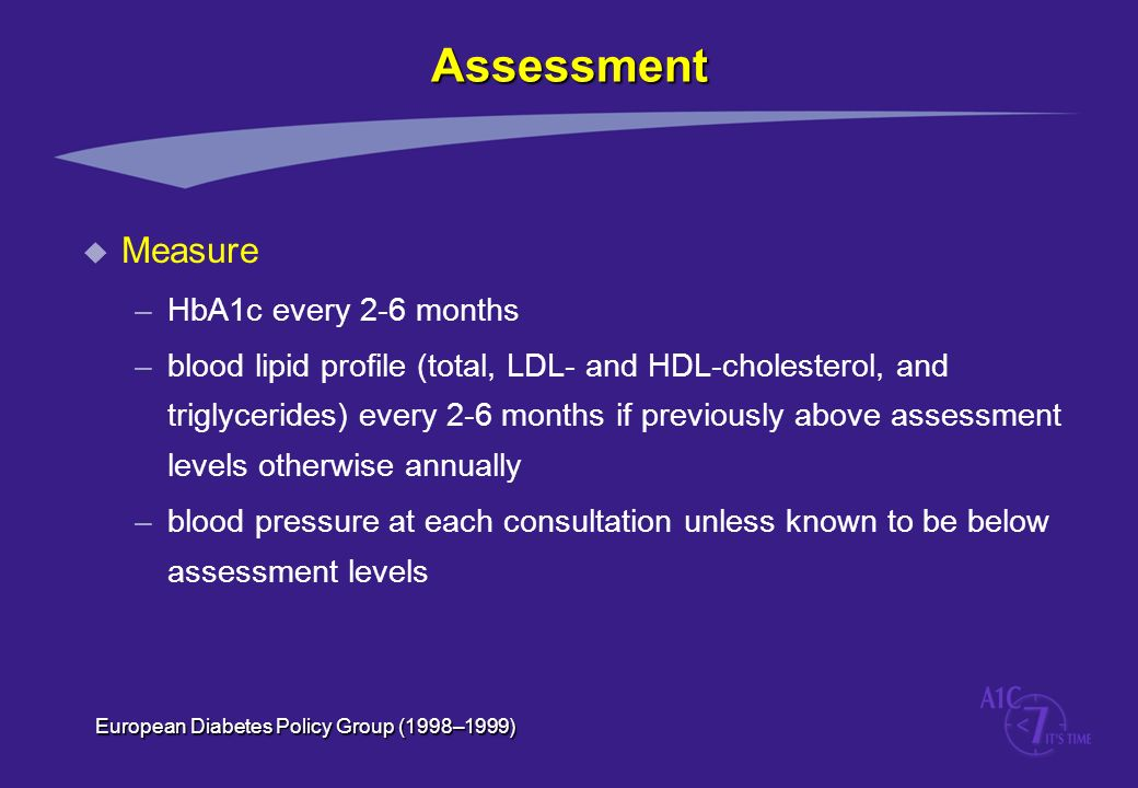 Assessment Measure HbA1c every 2-6 months