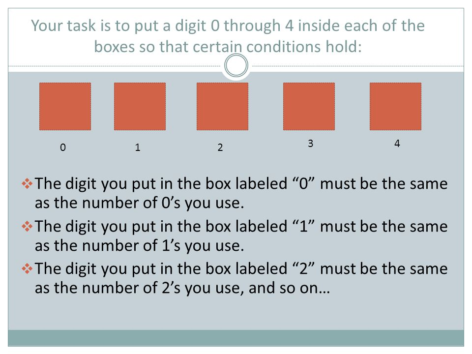 Your task is to put a digit 0 through 4 inside each of the boxes so that certain conditions hold: