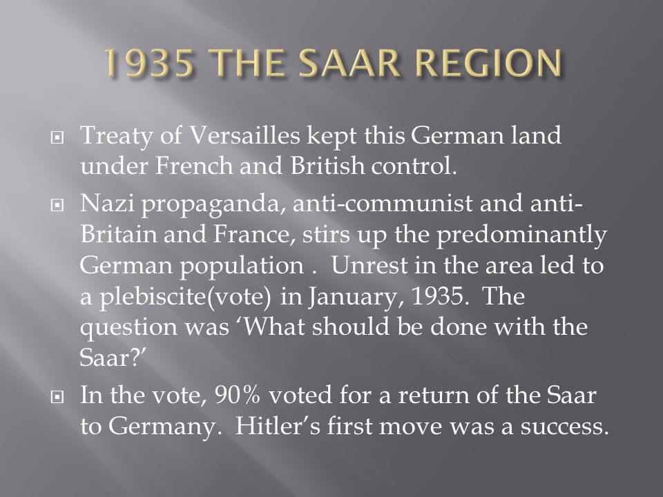 1935 THE SAAR REGION Treaty of Versailles kept this German land under French and British control.