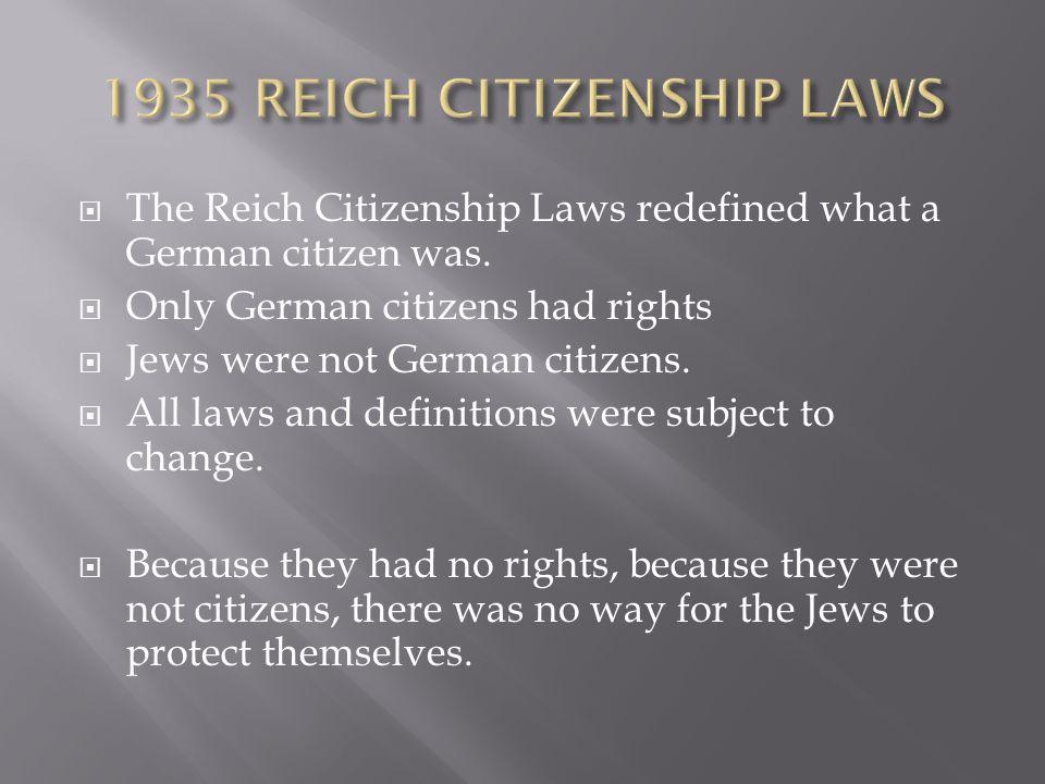 1935 REICH CITIZENSHIP LAWS