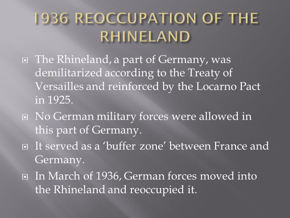 1936 REOCCUPATION OF THE RHINELAND