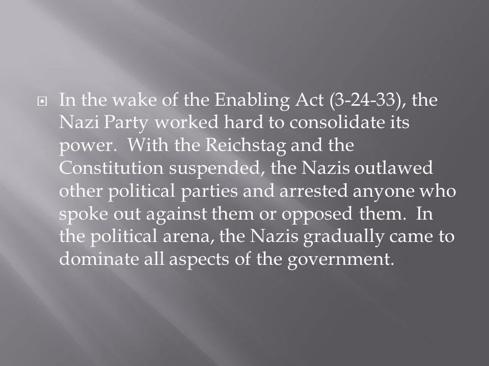 In the wake of the Enabling Act (3-24-33), the Nazi Party worked hard to consolidate its power.