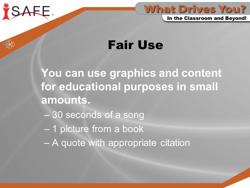 Fair Use You can use graphics and content for educational purposes in small amounts. 30 seconds of a song.