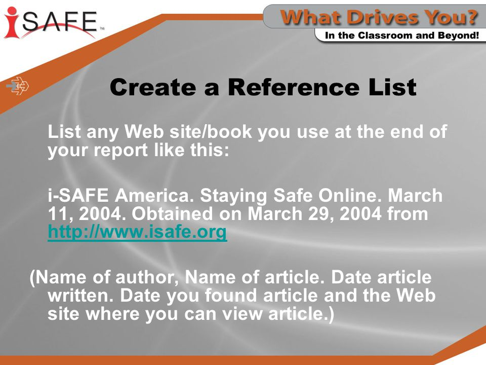 Create a Reference List