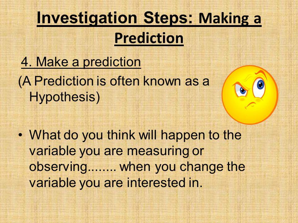Investigation Steps: Making a Prediction