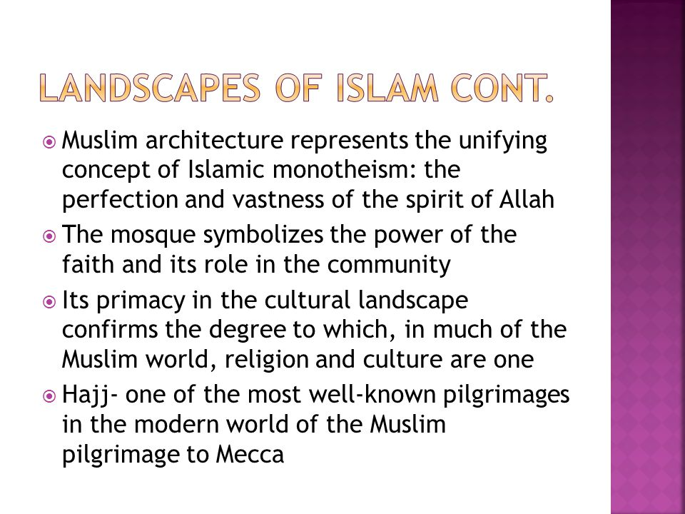 Landscapes of islam cont.