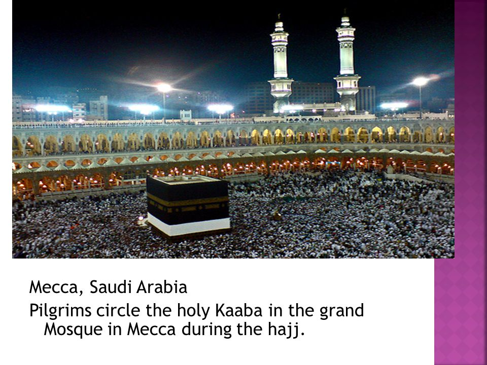 Mecca, Saudi Arabia Pilgrims circle the holy Kaaba in the grand Mosque in Mecca during the hajj.