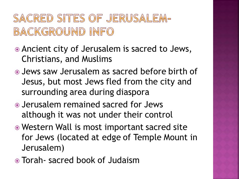Sacred sites of jerusalem- Background INFO