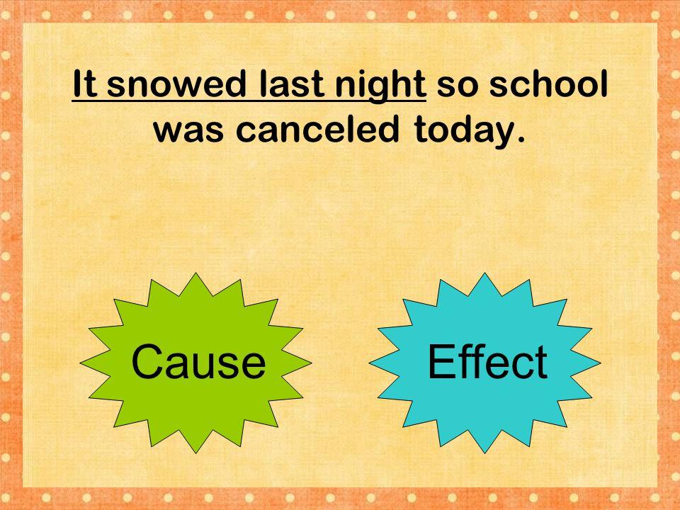 It snowed last night so school was canceled today.