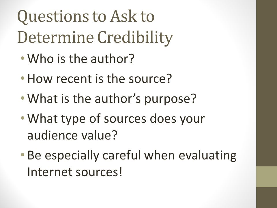 Questions to Ask to Determine Credibility