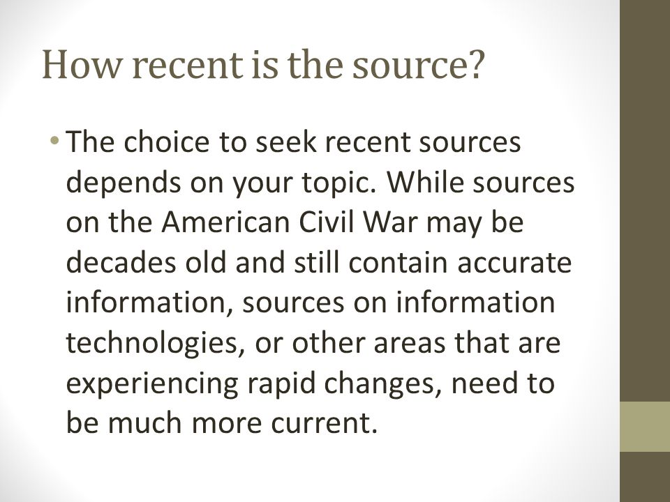 How recent is the source
