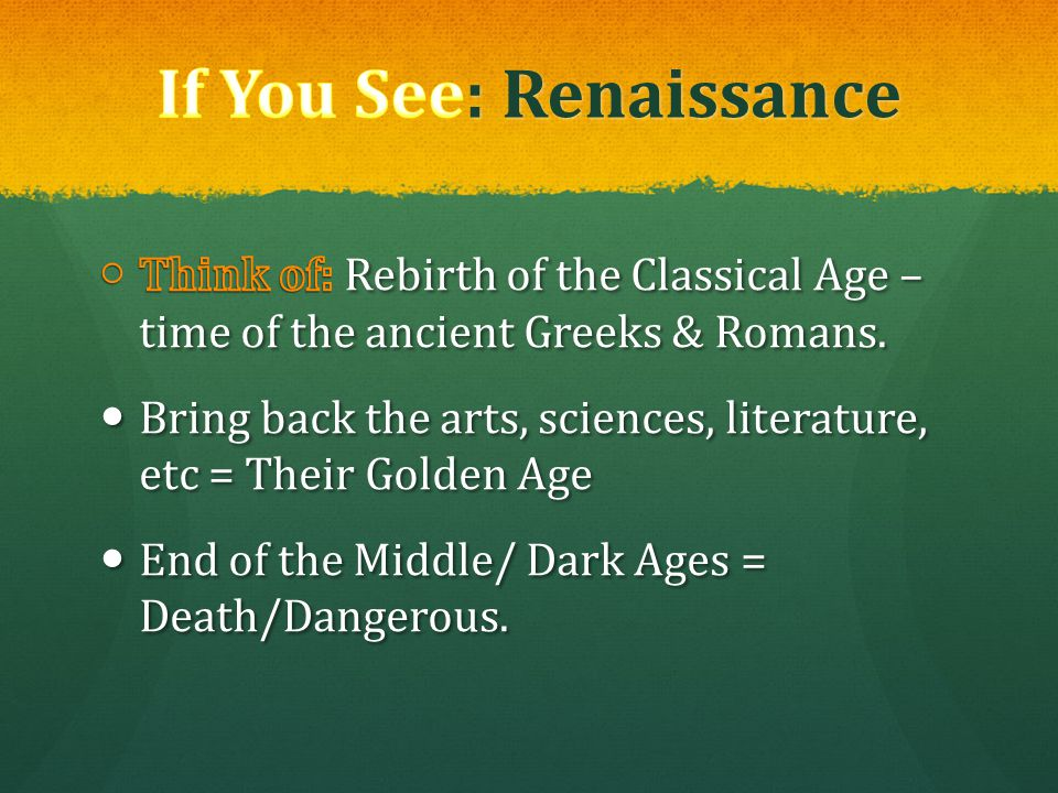 If You See: Renaissance