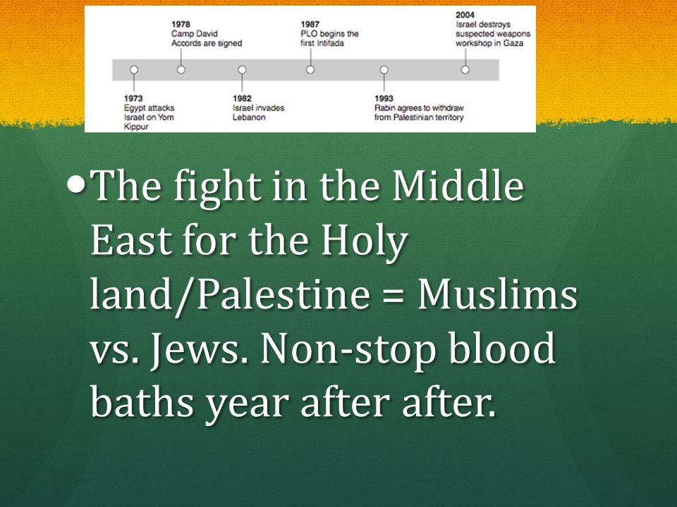 If You See: The fight in the Middle East for the Holy land/Palestine = Muslims vs.