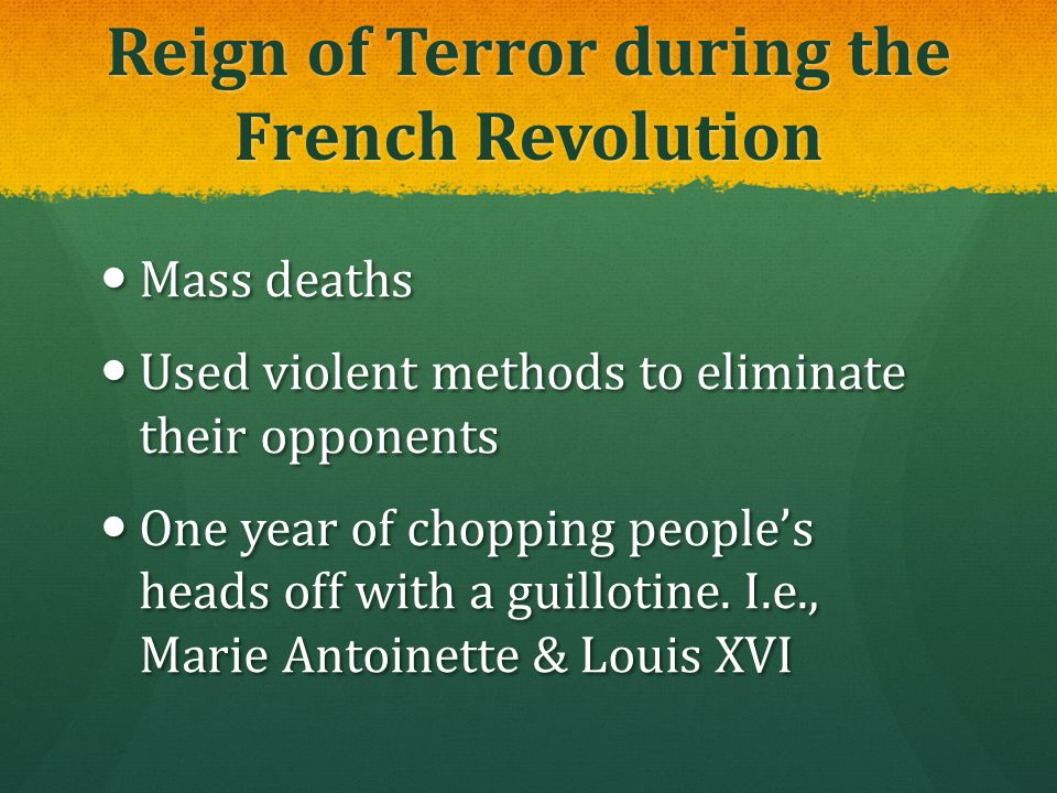 Reign of Terror during the French Revolution