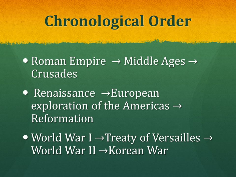 Chronological Order Roman Empire → Middle Ages → Crusades