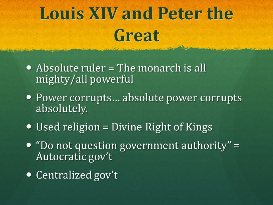 Louis XIV and Peter the Great