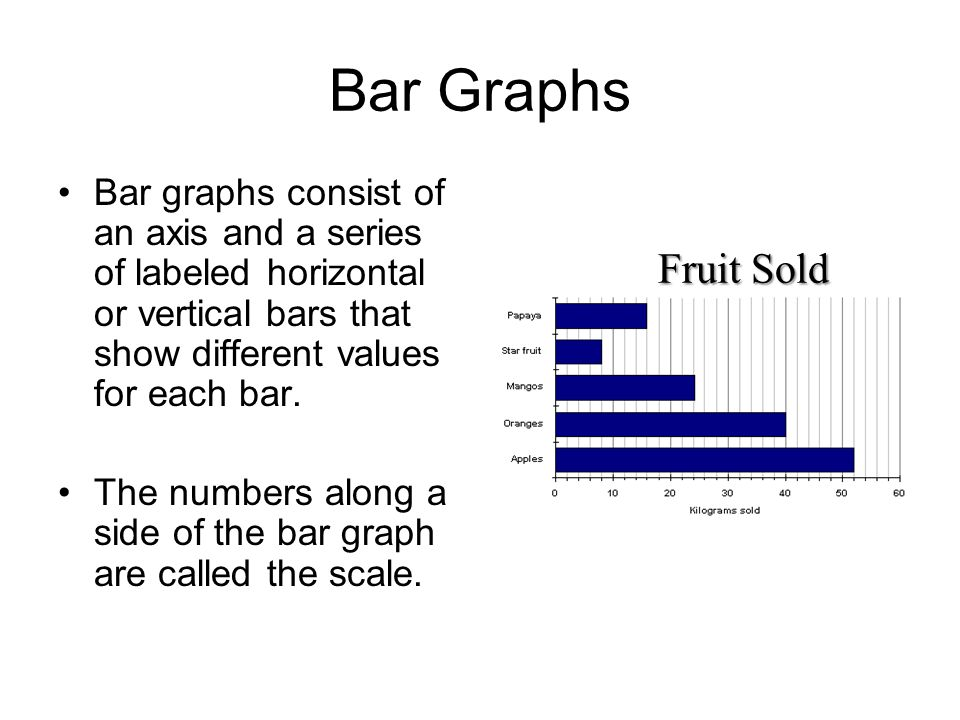 Bar Graphs Bar graphs consist of an axis and a series of labeled horizontal or vertical bars that show different values for each bar.