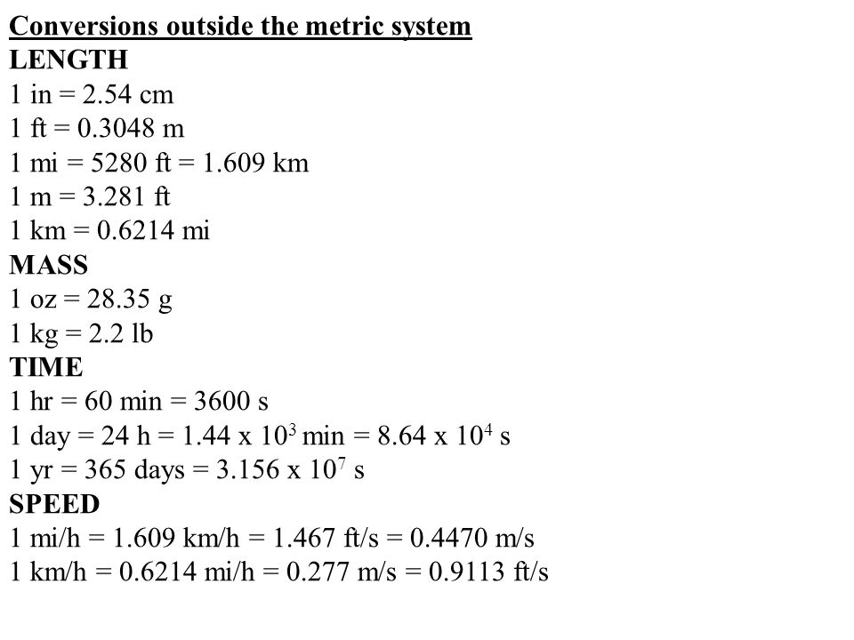 Conversions outside the metric system
