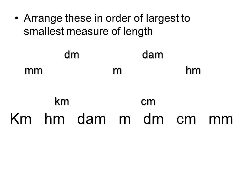 Arrange these in order of largest to smallest measure of length