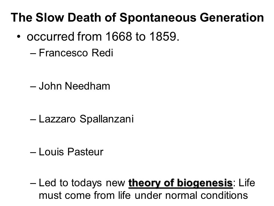 The Slow Death of Spontaneous Generation