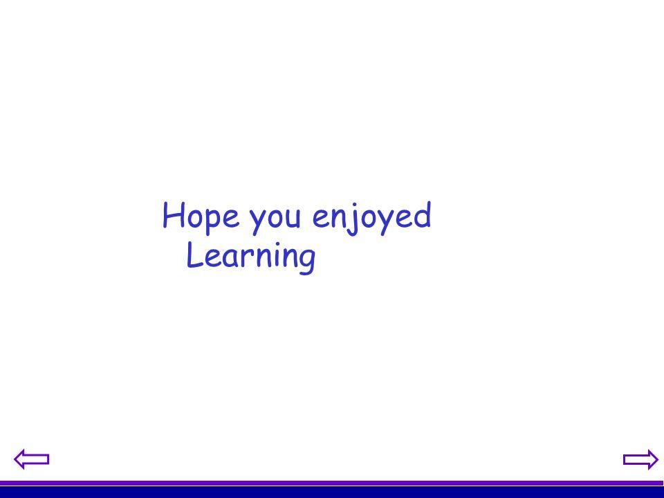 Hope you enjoyed Learning