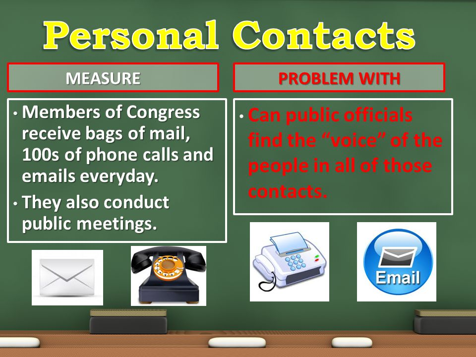Personal Contacts Measure. Problem with. Members of Congress receive bags of mail, 100s of phone calls and emails everyday.