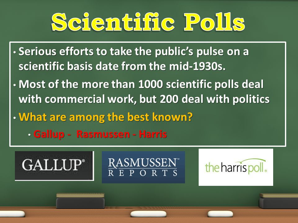 Scientific Polls Serious efforts to take the public's pulse on a scientific basis date from the mid-1930s.