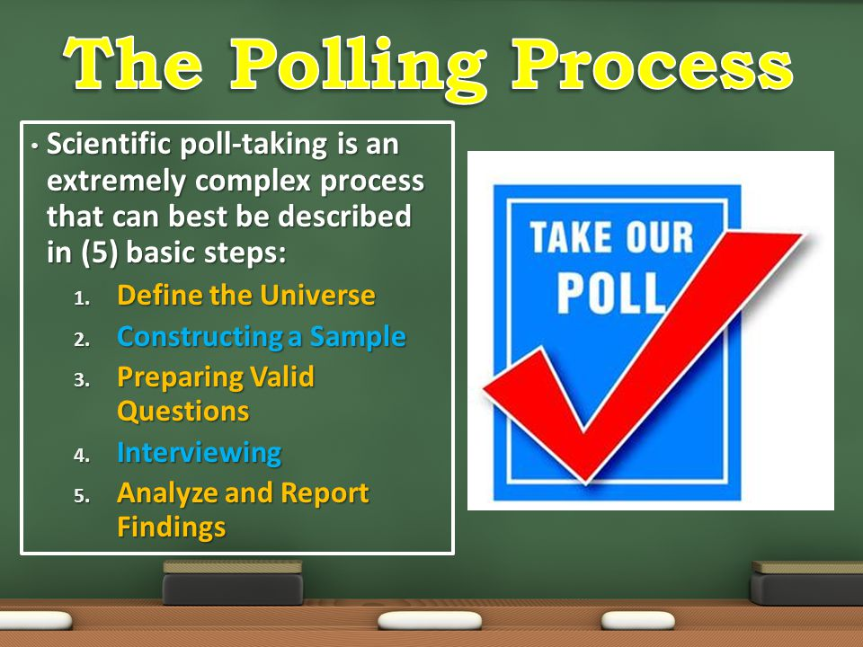The Polling Process Scientific poll-taking is an extremely complex process that can best be described in (5) basic steps: