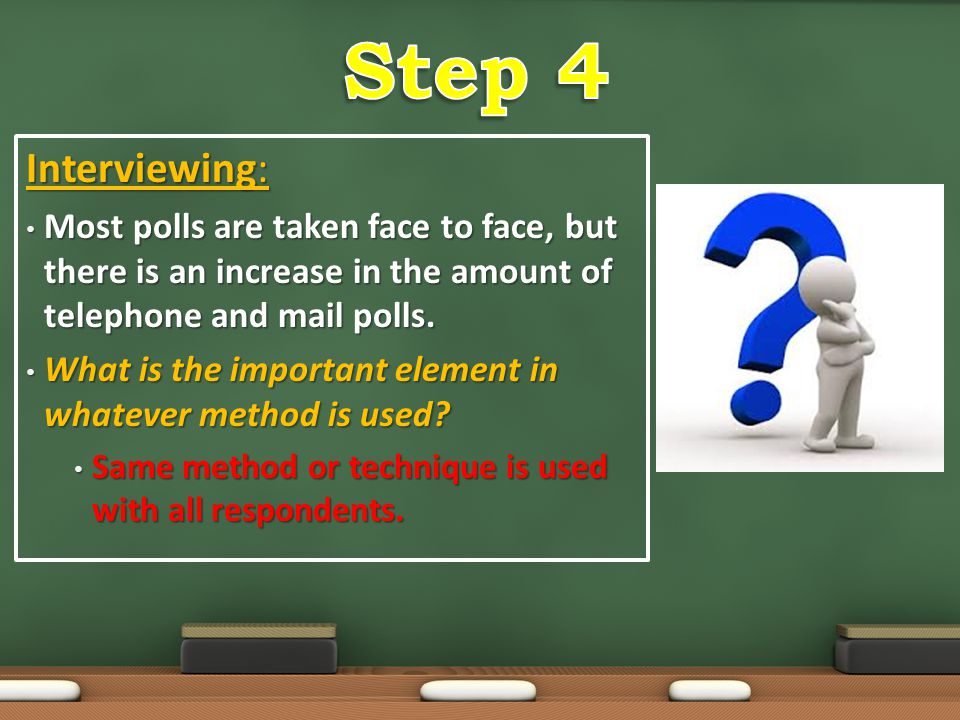Step 4 Interviewing: Most polls are taken face to face, but there is an increase in the amount of telephone and mail polls.