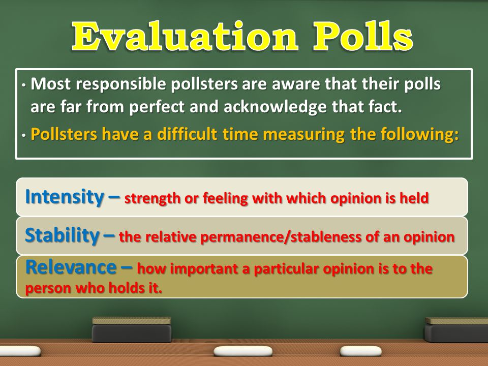 Evaluation Polls Most responsible pollsters are aware that their polls are far from perfect and acknowledge that fact.