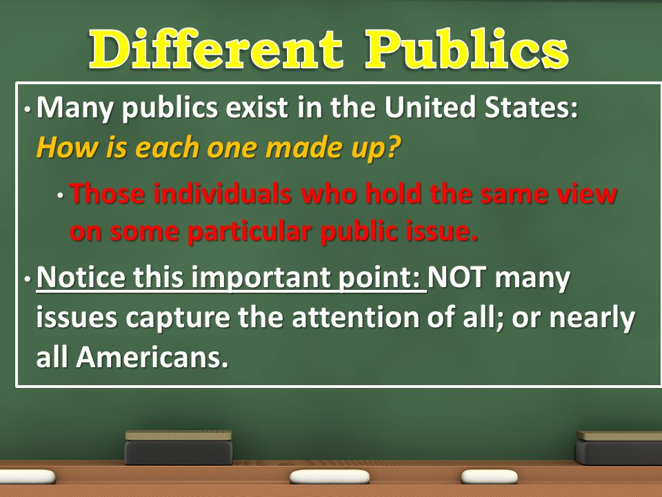 Different Publics Many publics exist in the United States: How is each one made up
